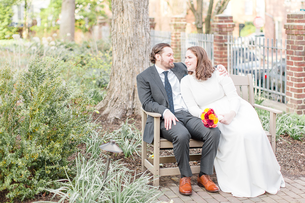 Bride and Groom portraits at the Carlyle House in Old Town Alexandria by Virginia Wedding Photographer Sarah Botta Photography