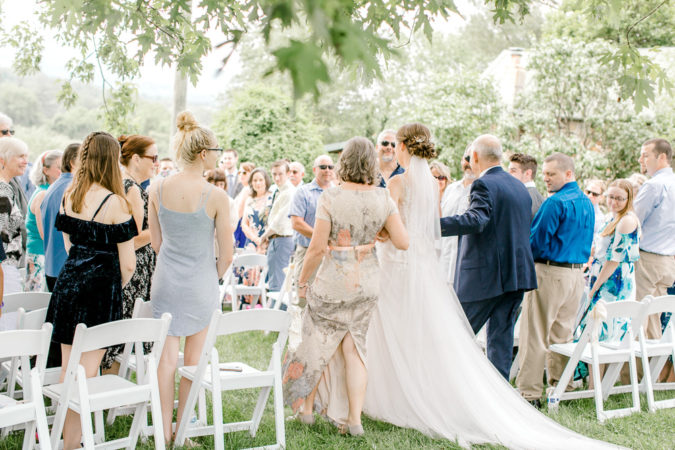 Bride walking down the aisle with her parents at Silverbrook Farm by Virginia Wedding Photographer Sarah Botta Photography